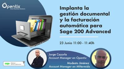 Implanta la gestión documental y la facturación automática para Sage 200 Advanced