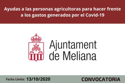 El Ayuntamiento de Meliana concede ayudas a las personas agricultoras para hacer frente a los gastos generados por el Covid-19