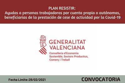 PLAN RESISTIR: ayudas personas trabajadoras por cuenta propia o autónomas, beneficiarias prestación de cese  actividad por Covid19