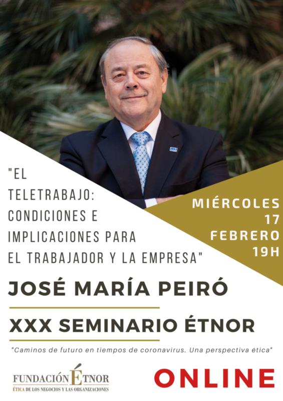 Peiró aboga por la formación en competencias digitales y nuevas habilidades directivas para la implantación del teletrabajo