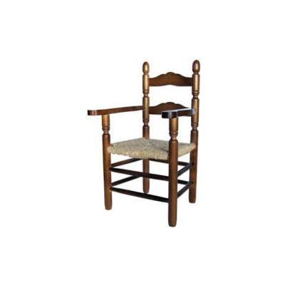 Silla de barra gorda de madera y asiento de anea